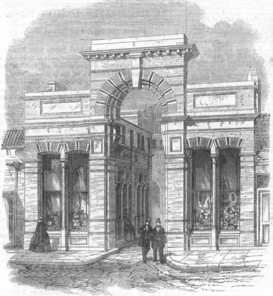 Associate Product LONDON. Agricultural Hall from High St, Islington, antique print, 1862