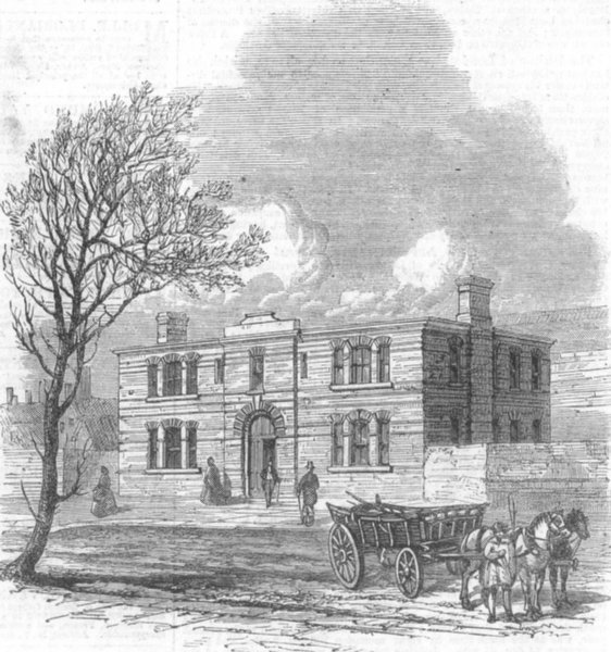 Associate Product LONDON. Agricultural Hall offices, Islington, antique print, 1862