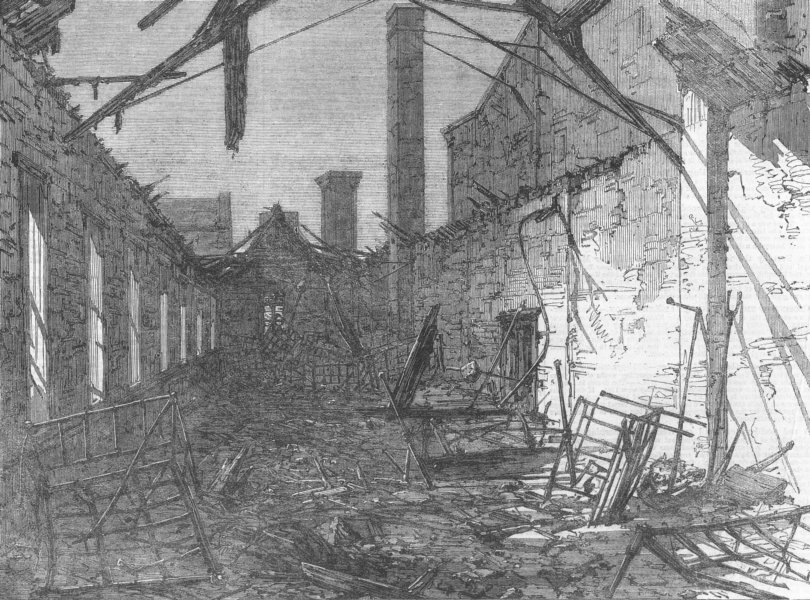 Associate Product LANCS. Liverpool Workhouse, Brownlow Hill, burnt down, antique print, 1862