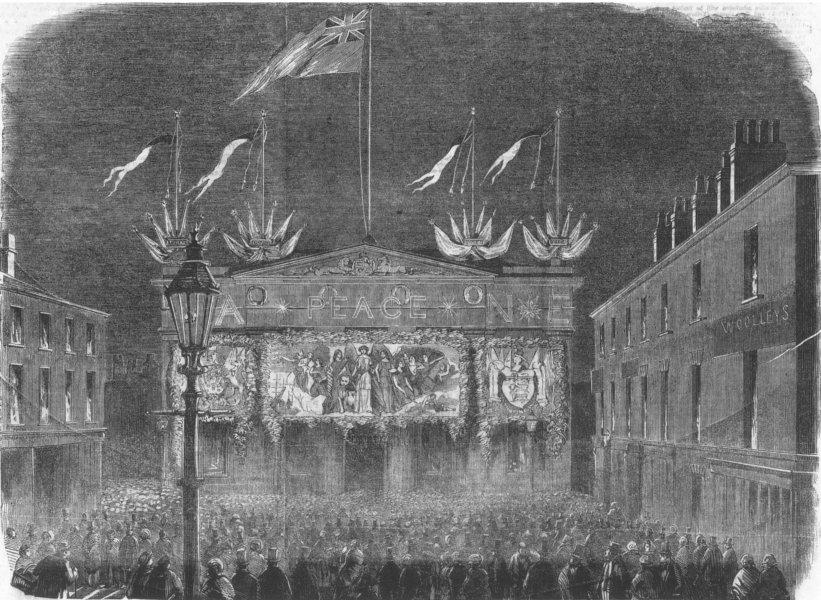 Associate Product LANCS. Crimean Peace celebration, Salford Townhall, antique print, 1856