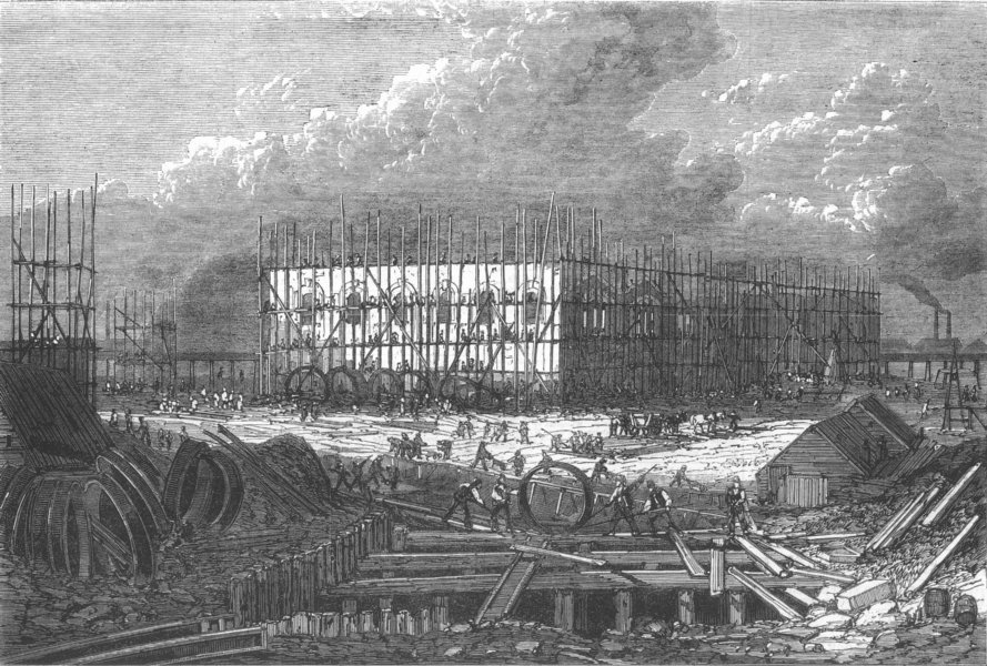 Associate Product LONDON. Abbey Mills pumping station, West Ham, antique print, 1867