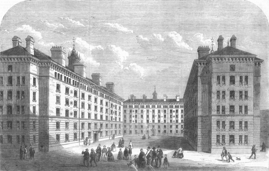 Associate Product LONDON. Working class housing, Peabody Sq, Shadwell, antique print, 1867