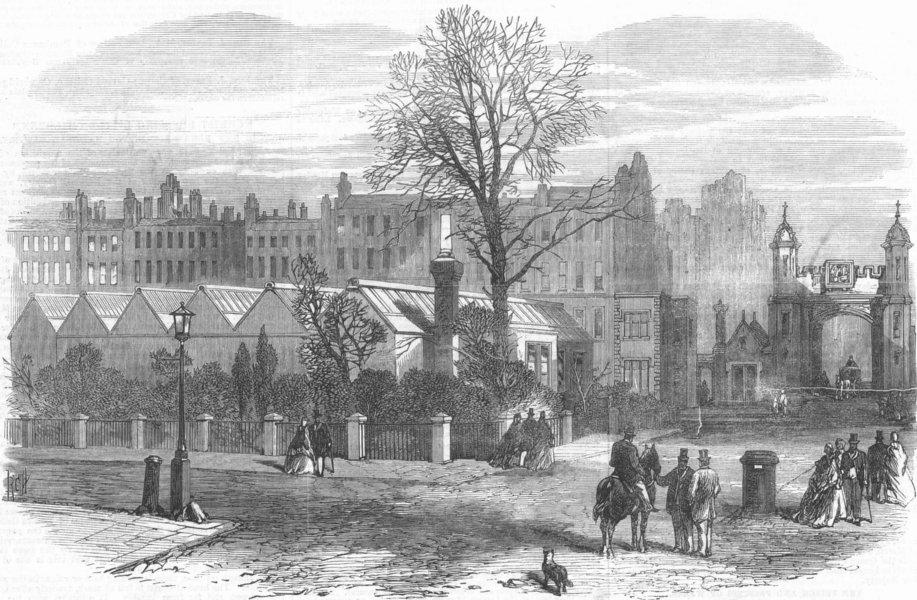 LONDON. Temporary building, New Sq, Lincolns Inn, antique print, 1867
