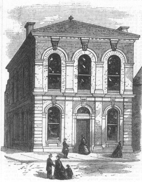 Associate Product HANTS. The new Townhall at Romsey, antique print, 1867