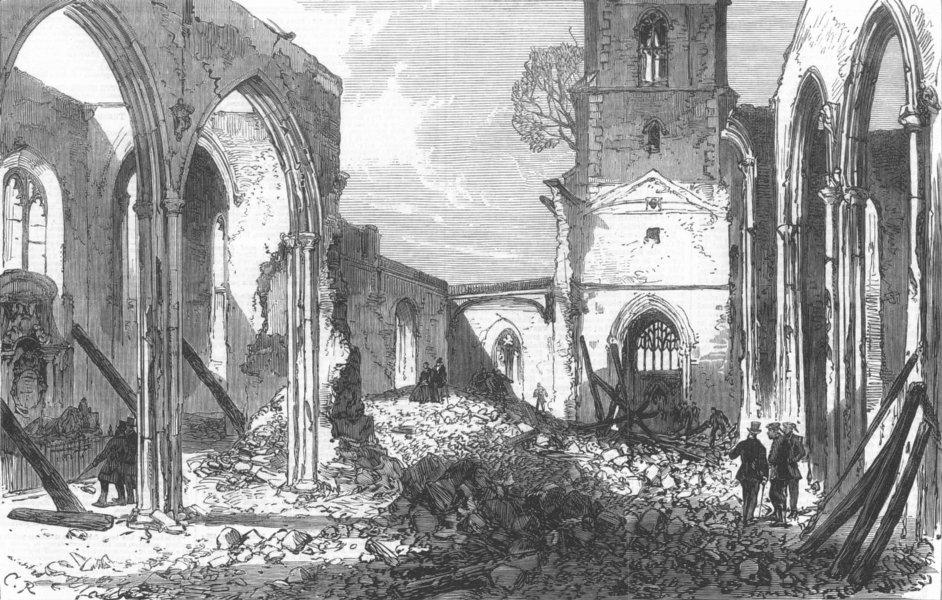 Associate Product SURREY. St Johns Church ruins, Croydon, burnt down, antique print, 1867