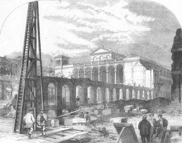 Associate Product LONDON. Construction of Charing-Cross Station, antique print, 1862