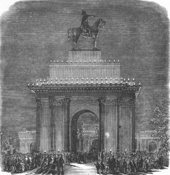 LONDON. Crimean War. Peace lights-Green Park Arch, antique print, 1856