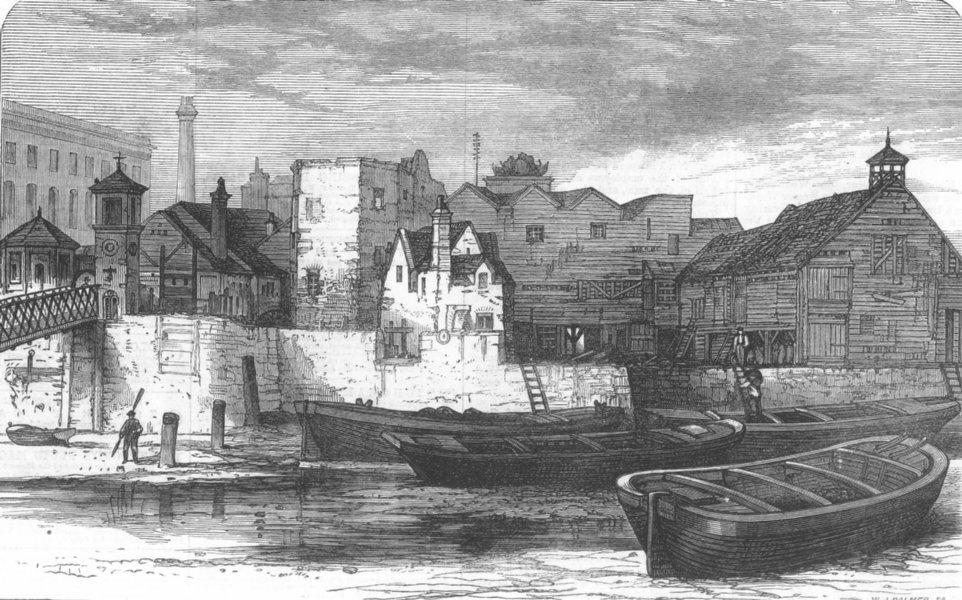 Associate Product LONDON. Old houses at Nine-Elms, Lambeth, antique print, 1871