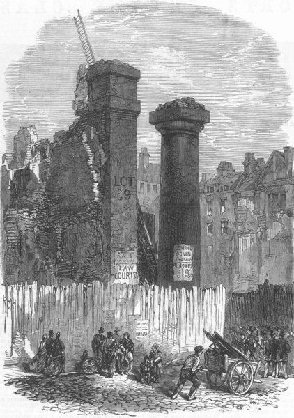 Associate Product LONDON. Demolition of Clements Inn, Strand, antique print, 1867