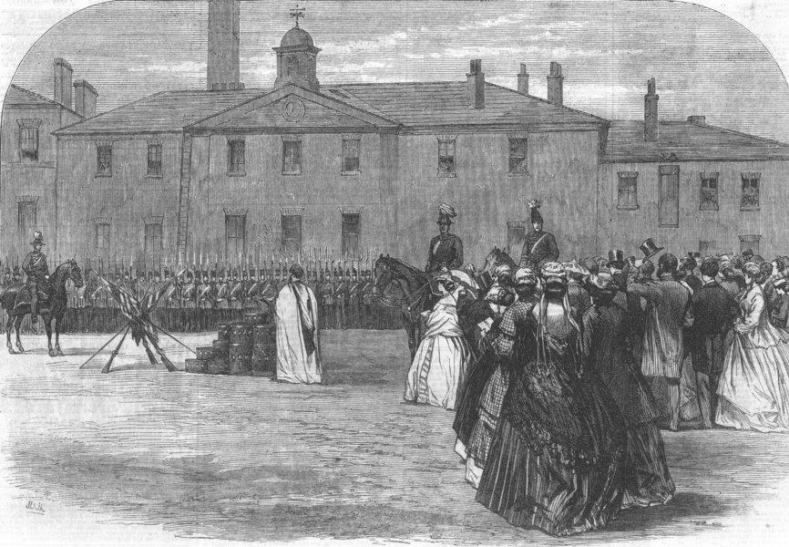 Associate Product LANCS. 39th Regiment in the Salford Barracks, antique print, 1866