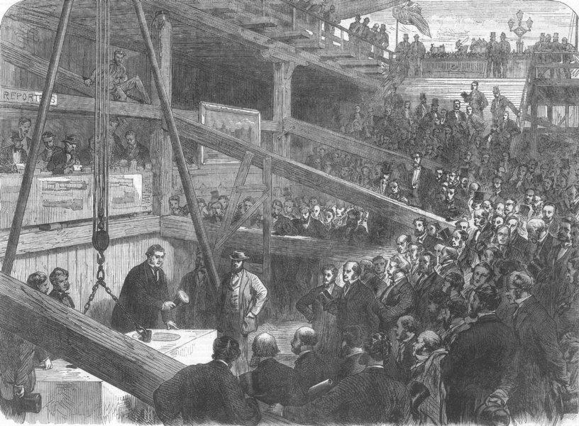 Associate Product LONDON. Laying keystone of Thames Albert Embankment, antique print, 1866