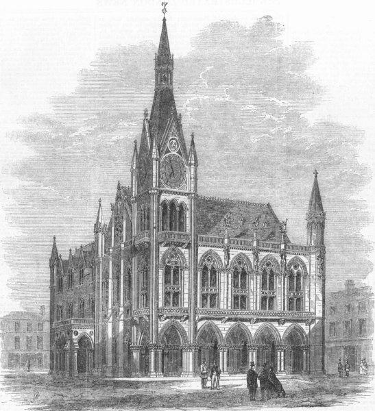 Associate Product LANCASHIRE. Preston guild festival. Planned townhall, antique print, 1862
