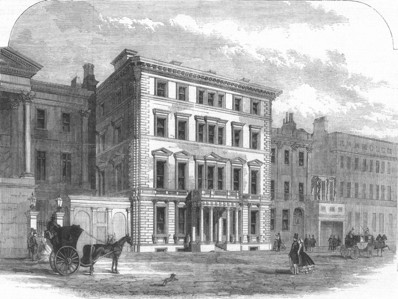 Associate Product LONDON. Baron Rothschild's new mansion, Piccadilly, antique print, 1862