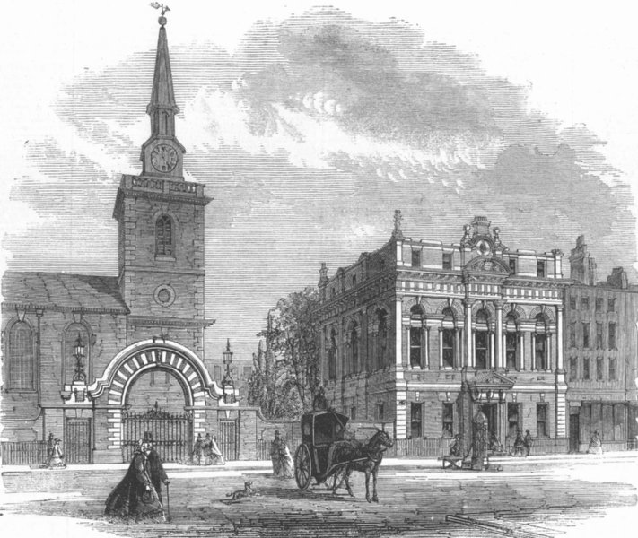 Associate Product LONDON. St James's new Vestry Hall, Piccadilly, antique print, 1862
