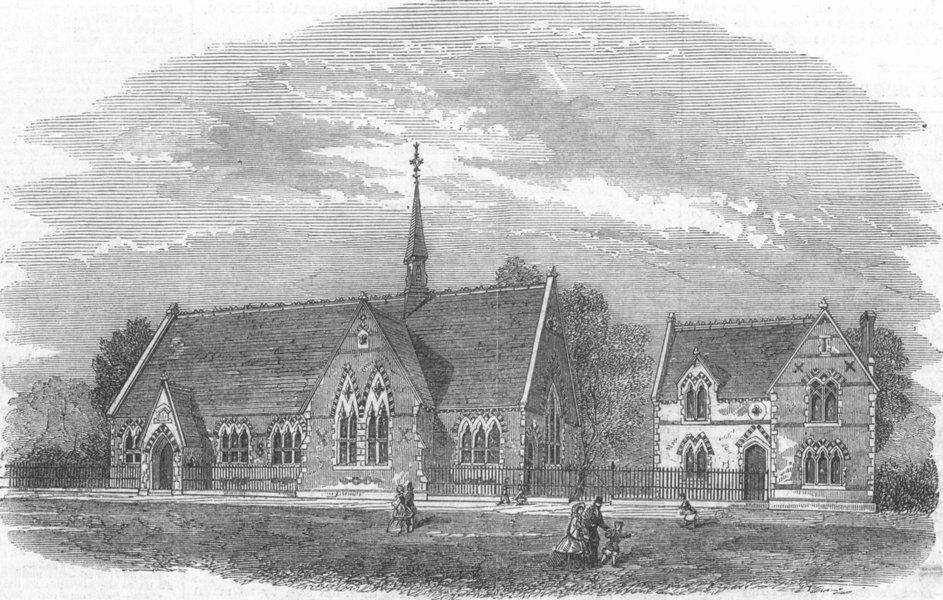 Associate Product LANCS. New Wesleyan Schools at Blackburn, Lancashire, antique print, 1862