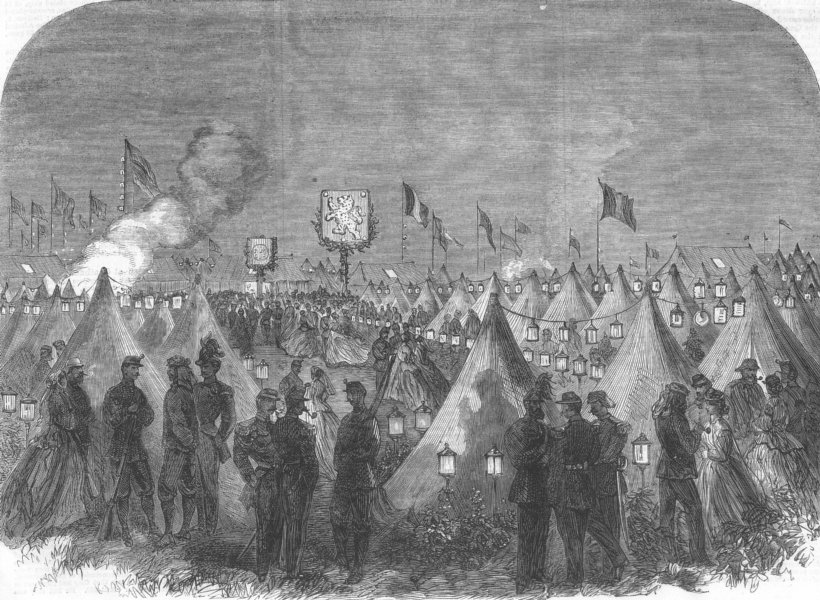 Associate Product LONDON. The Wimbledon Rifle Meeting. camp lit up, antique print, 1866