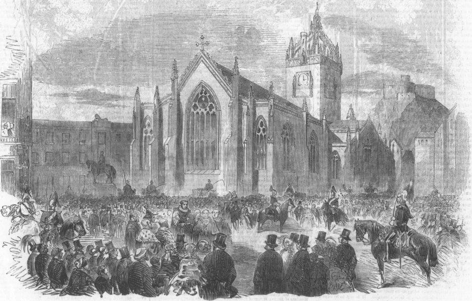 SCOTLAND. Celebrating Crimean peace at Edinburgh, antique print, 1856