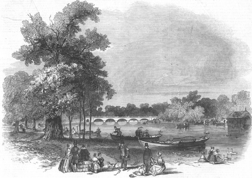 Associate Product LONDON. Pleasure-boats on the Serpentine, antique print, 1847
