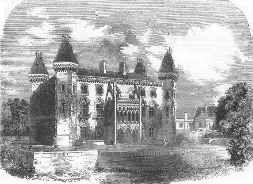Associate Product Dynevor Castle, Carmarthenshire, Wales, antique print, 1859