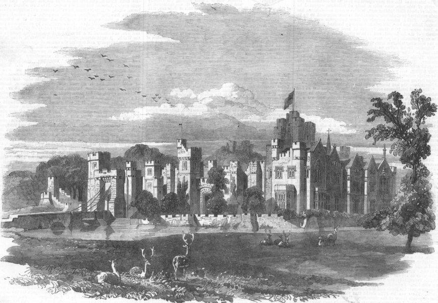 Associate Product LINCS. Bayons Manor(Charles Tennyson D'Eyncourt), antique print, 1859