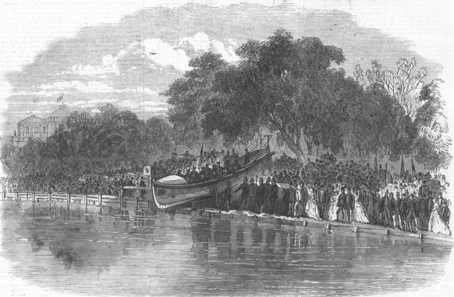 Associate Product GLOS. Launch of the Cheltenham Life-Boat, antique print, 1866