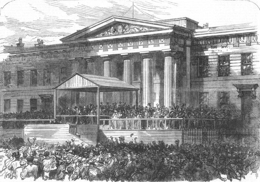 Associate Product SCOTLAND. General Election. Declaration at Glasgow, antique print, 1868