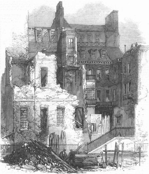 Associate Product LONDON. St Jamess Park, ex House of Judge Jeffreys, antique print, 1868