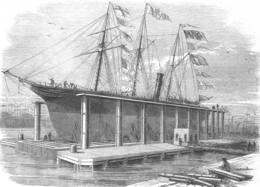 Associate Product LONDON. New Hydraulic Lift at the Victoria Docks, antique print, 1858