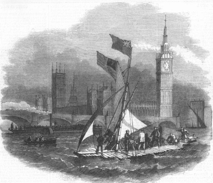 Associate Product LONDON. Testing life-preserving raft, Thames, antique print, 1858