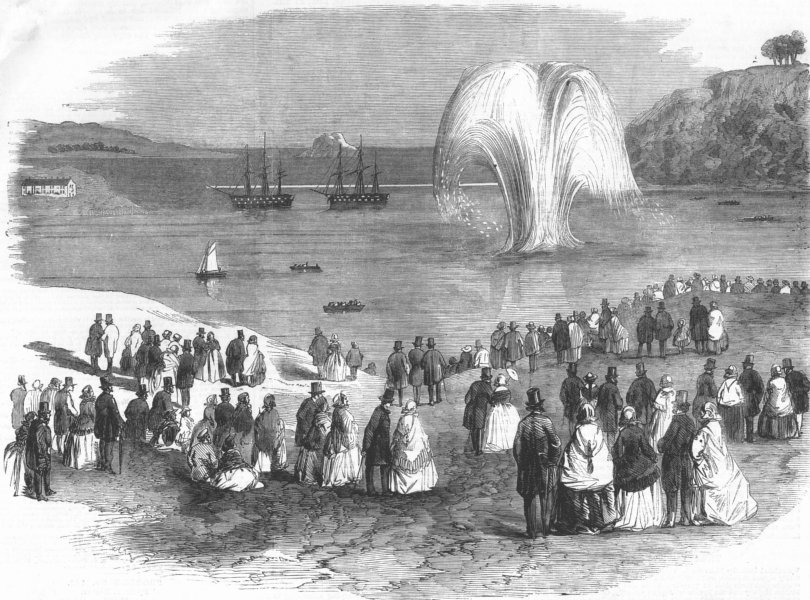 Associate Product DEVON. blowing up of Vanguard Rock at Plymouth, , antique print, 1858