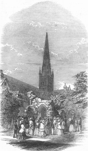 Associate Product NORFOLK. Prof. Williss Lecture, Norwich Cathedral, antique print, 1847