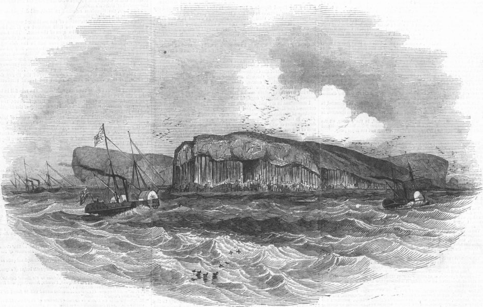 Associate Product SCOTLAND. The Royal Yachts off Staffa, antique print, 1847