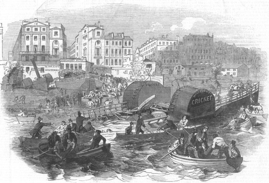 Associate Product LONDON. Explosion, board Cricket Thames ship, antique print, 1847