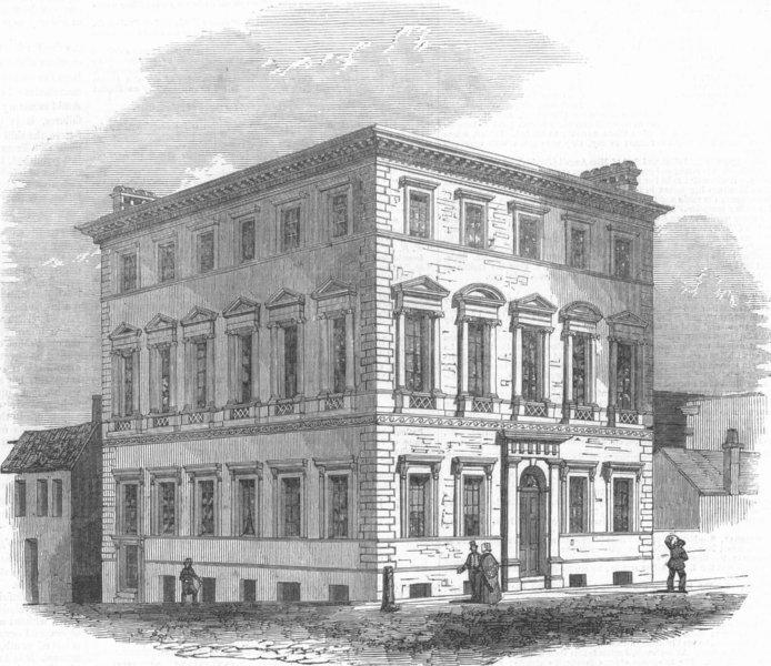Associate Product YORKS. Sheffield Athenaeum & Mechanics Institute, antique print, 1847