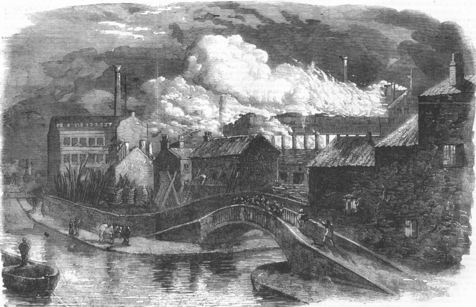 Associate Product NOTTINGHAMSHIRE. Hosiery Factory on fire, Nottingham, antique print, 1859