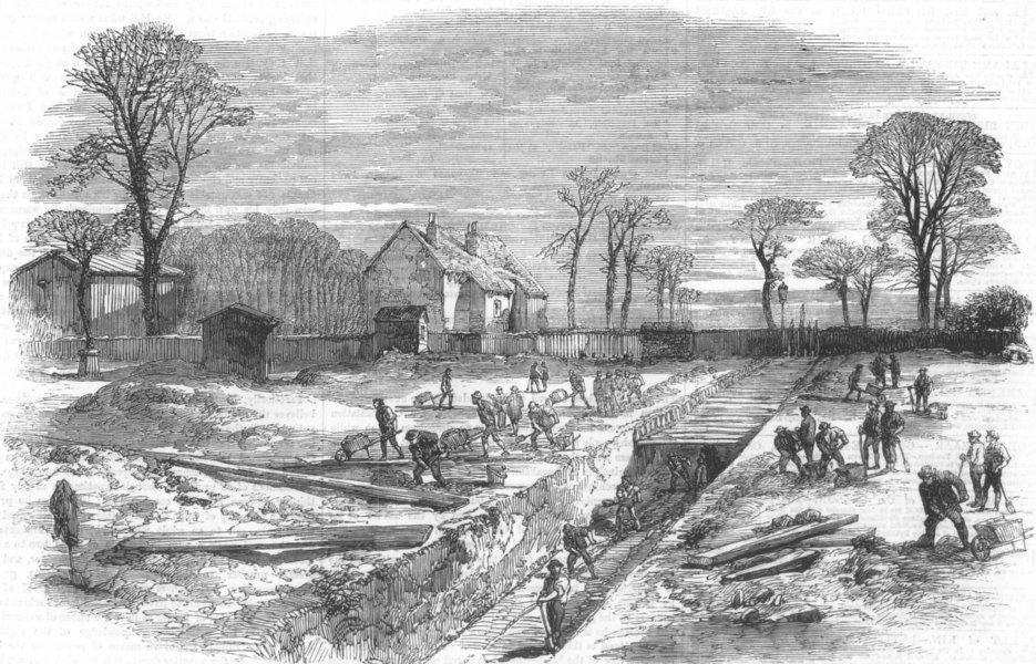 Associate Product LONDON. Metropolitan High-Level Sewer, Victoria Park, antique print, 1859