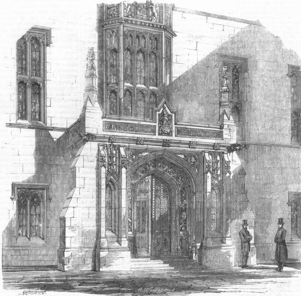 Associate Product LONDON. Westminster. Speaker's residence porch, antique print, 1859