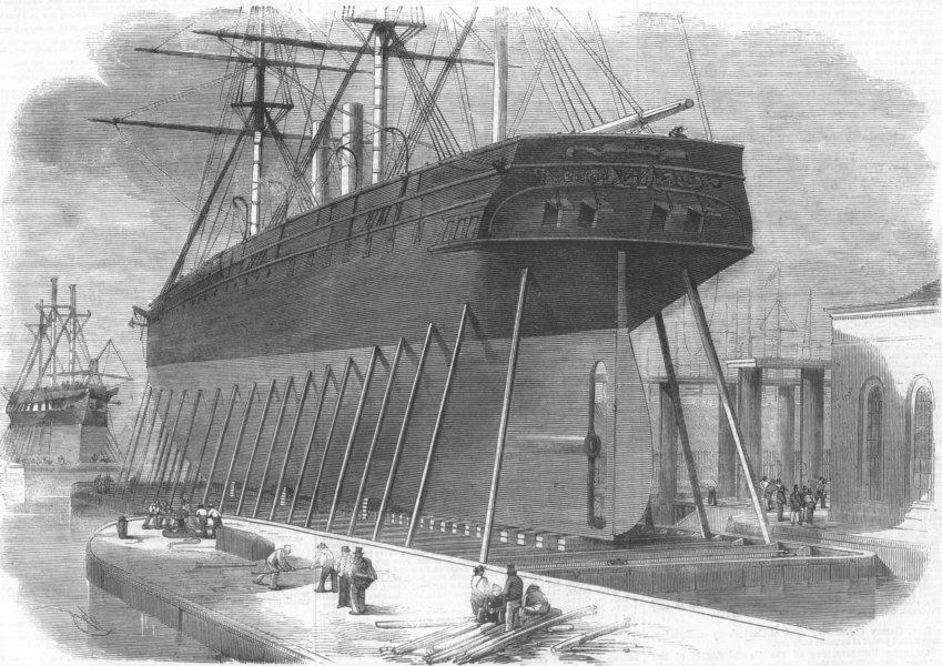 Associate Product LONDON. Hydraulic Lift, Craving-Docks, nr Blackwall, antique print, 1859