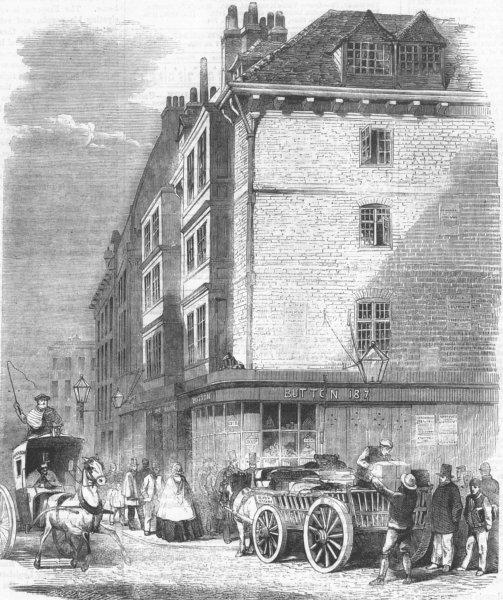 Associate Product LONDON. houses nr St Dunstans Church, Fleet St, antique print, 1859