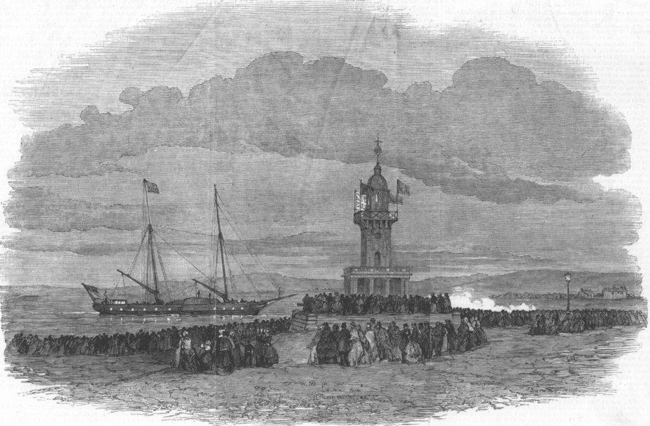 Associate Product LANCS. The Royal Yacht entering Fleetwood Harbour, antique print, 1847