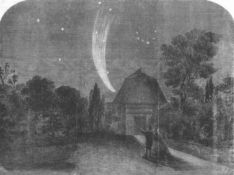 CAMBS. Donatis comet, from Cambridge Observatory, 11, antique print, 1858