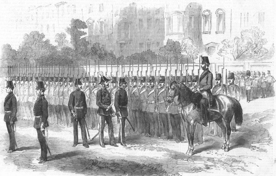 Associate Product LONDON. Inspection of the city of London Militia, antique print, 1858