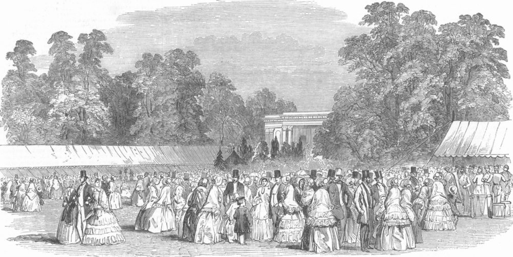 Associate Product GLOS. Horticultural fete at Cheltenham-The Lawn, antique print, 1850