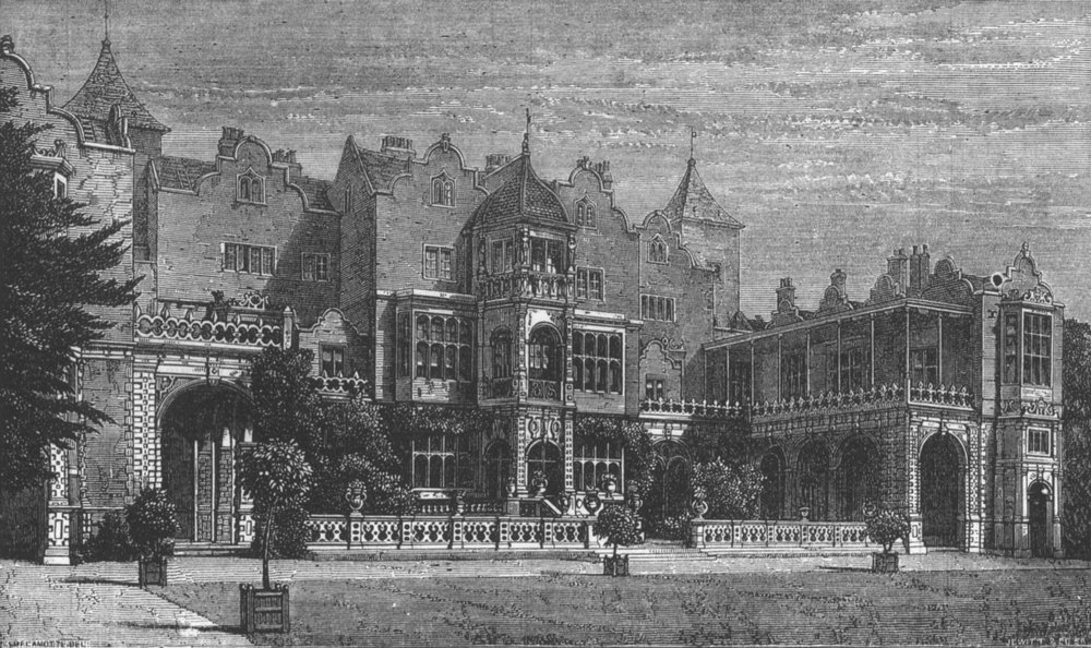 Associate Product LONDON. Holland House, South front, antique print, 1873