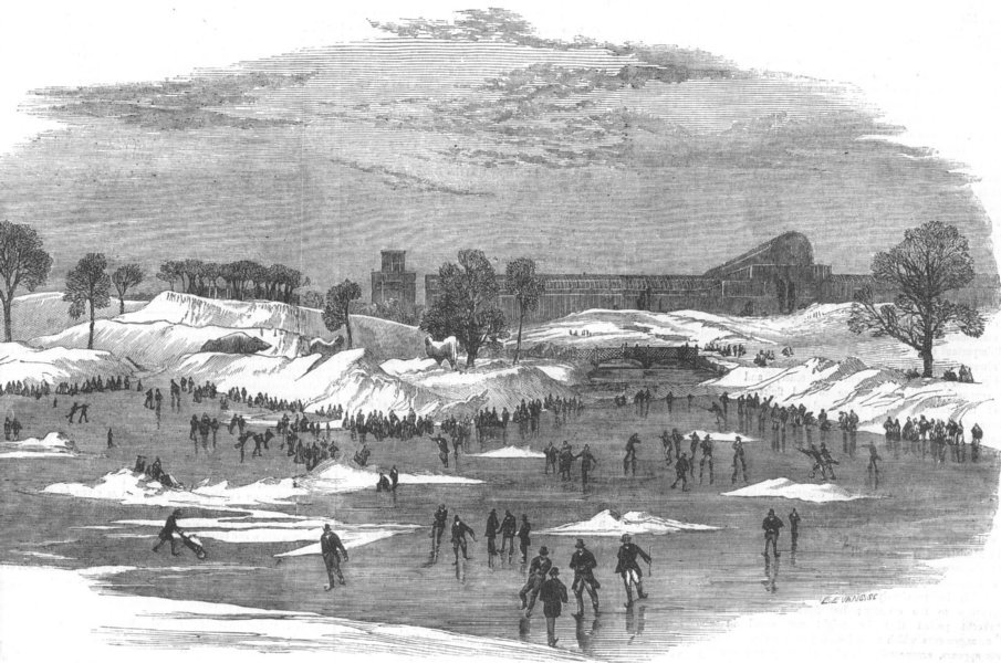 Associate Product LONDON. Skating, Crystal Palace, Sydenham, antique print, 1855