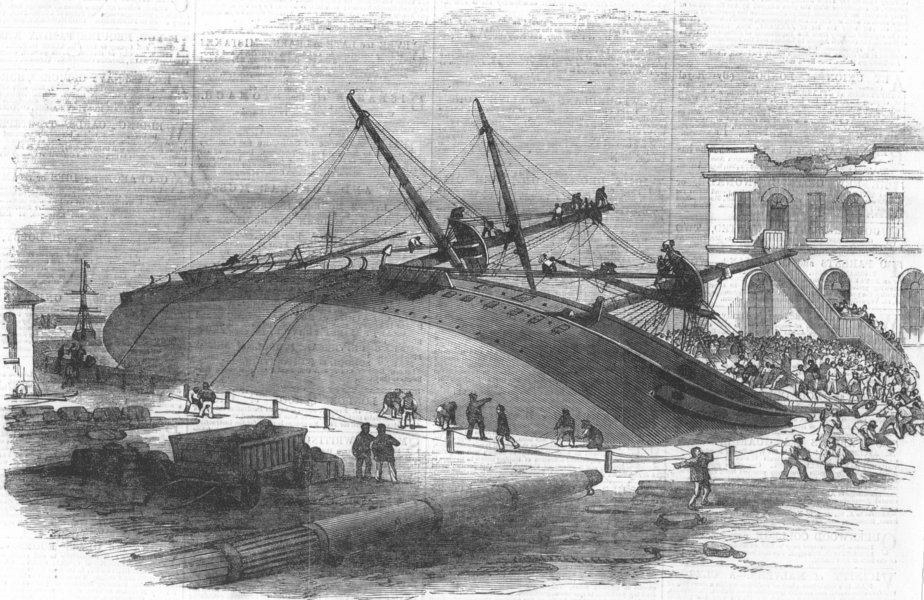 Associate Product LONDON. H M S Perseverance, accident, Woolwich Docks, antique print, 1855