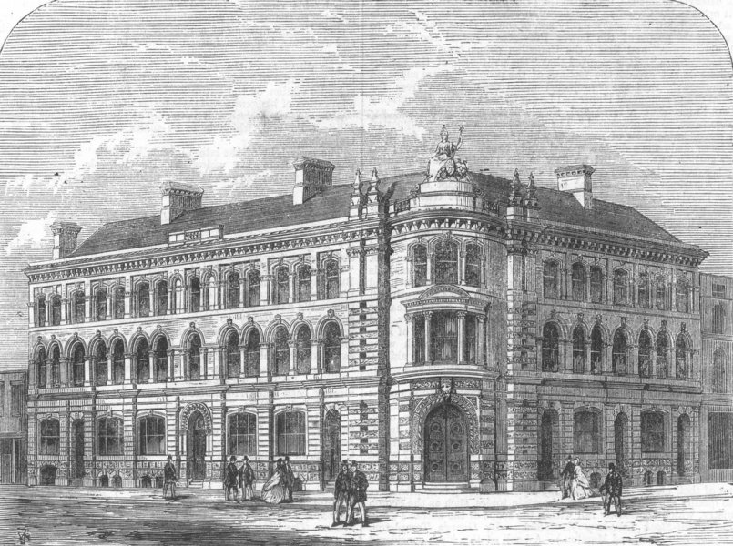 Associate Product YORKS. New exchange Buildings, Hull, antique print, 1866