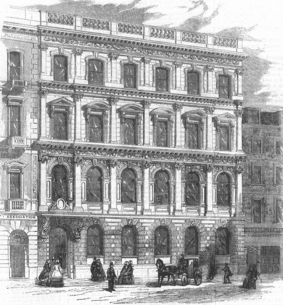 Associate Product LONDON. Mutual Life Assurance Soc, King St, Cheapside, antique print, 1859