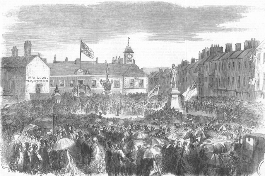 Associate Product CUMBS. unveiling of steel monument at Carlisle, antique print, 1859