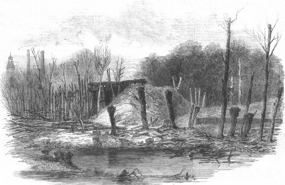 Associate Product LONDON. explosion, Hounslow Powder Mills, antique print, 1859